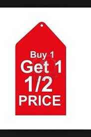 Buy 1 Get 2nd Half Price